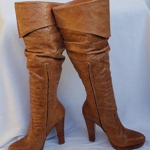 Jessica Simpson Tan Brown Tulip Knee High Boots